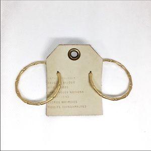 NWT Anthropologie Golden Bamboo Hoop Earrings